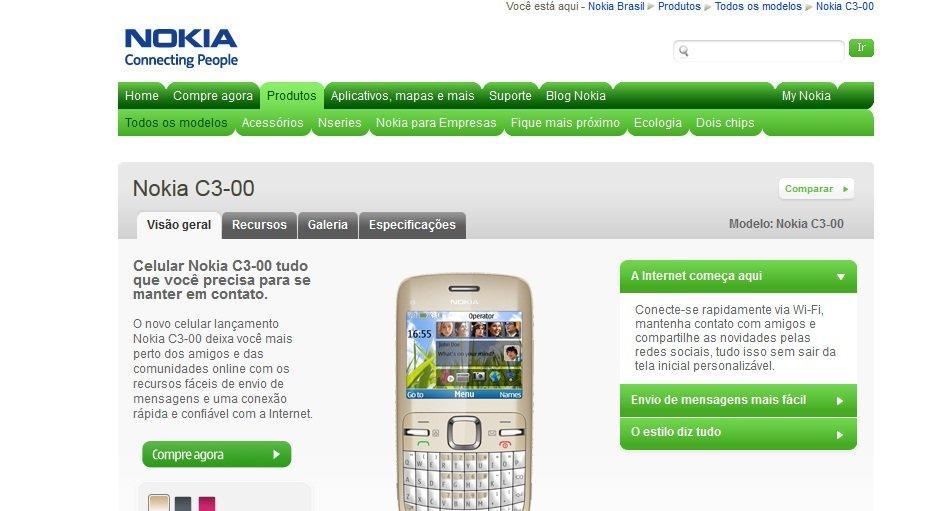 paginaoficial-c3 [Aviso de amigo] Nokia C3 não é Smartphone!
