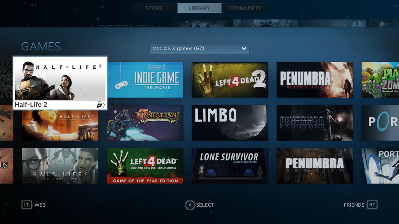 Steam Big Picture permite usar o Steam como se fosse um console conectado à TV