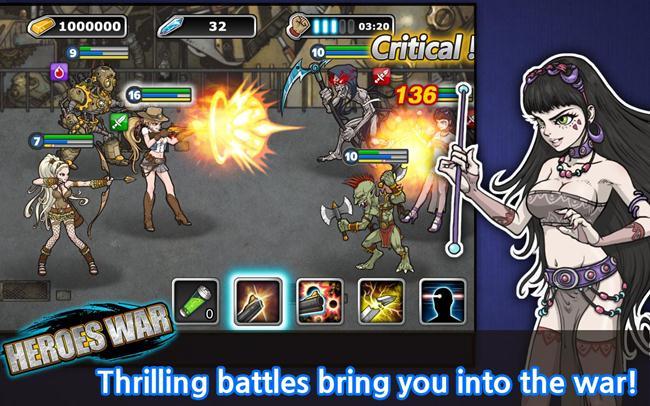 heroes-war-android Heroes War é um RPG Grátis para Android com garotas caçadoras de monstros