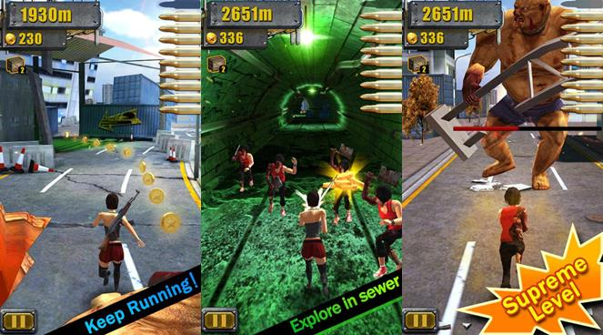 3d-city-run-hot-zombie 3D City Run Hot é uma mistura de Temple Run com Resident Evil