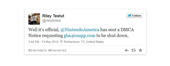 tuite-riley-testut Site e Emulador de GBA para iOS são desativados pela Nintendo