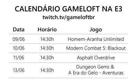 twitch_e3_calendario Novo jogos da Gameloft: Asphalt Overdrive, Modern Combat 5, Dungeon Gems e outros
