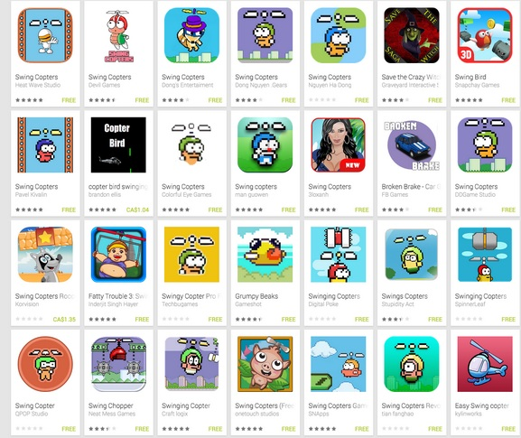 swing-copters-clones-android Swing Copters: Google remove centenas de clones da Google Play