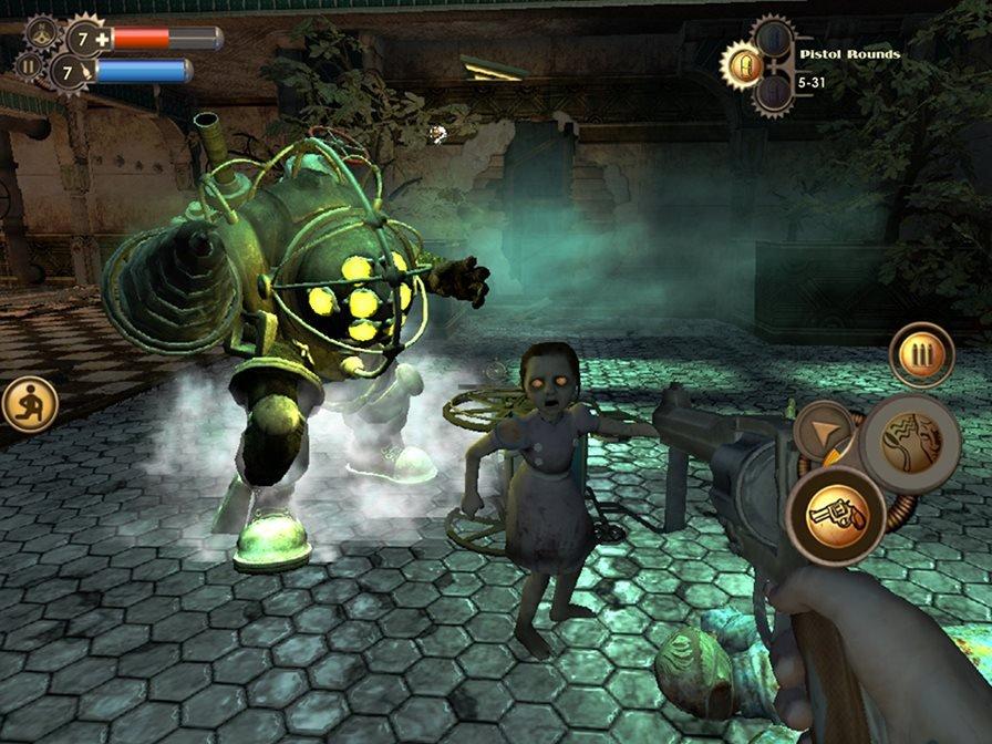 bioshock-bigdaddylittle Análise: Bioshock (iOS)