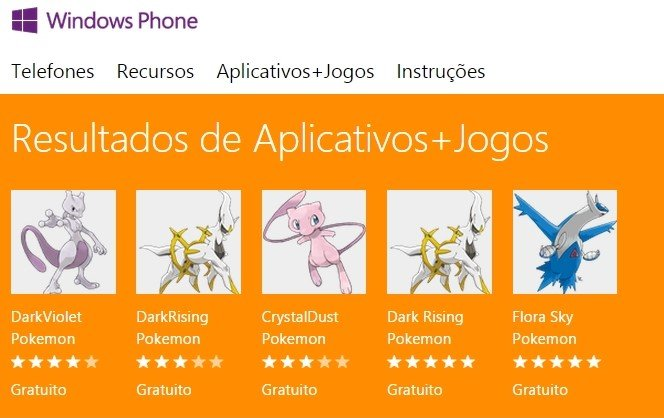 Jogos-Pokemon Pirataria invade a loja oficial do Windows Phone