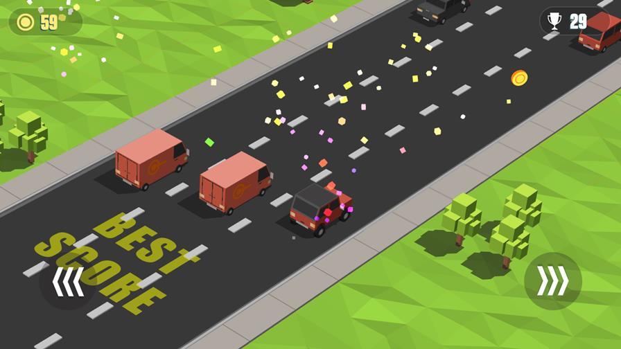 blocky-cars-android Blocky Cars: Traffic Rush é um jogo casual que rende muitos pontos na Google Play Games
