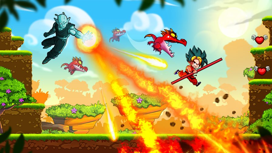 dragon-warrior-1 Goku está em divertido game offline de plataforma para Android