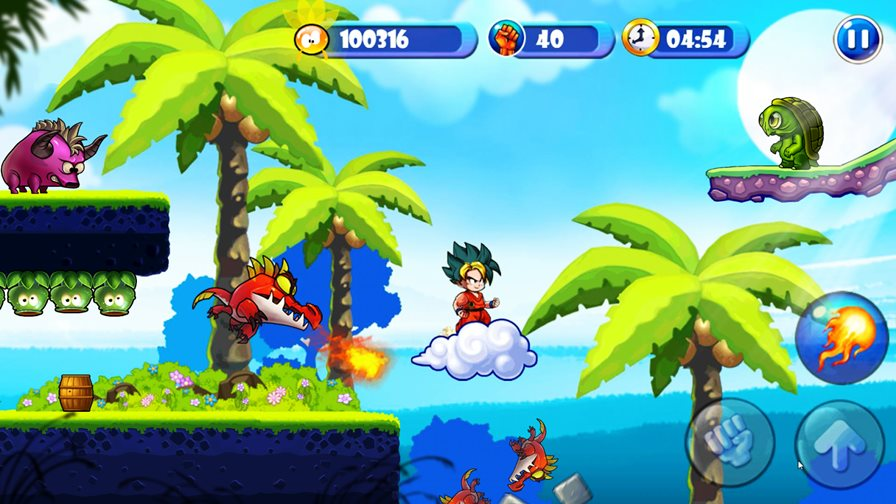 dragon-warrior-2 Goku está em divertido game offline de plataforma para Android