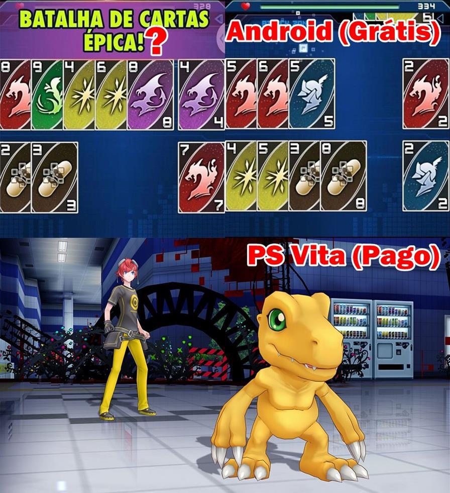 diferenca-digimon-psvita-android Digimon Heroes mostra como é fácil agradar com um jogo RUIM
