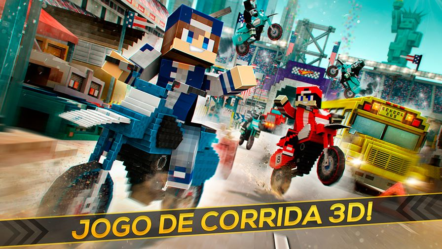 corrida-de-moto-minecraft Dirtbike Survival Block Motos é um Subway Surfers com visual de Minecraft