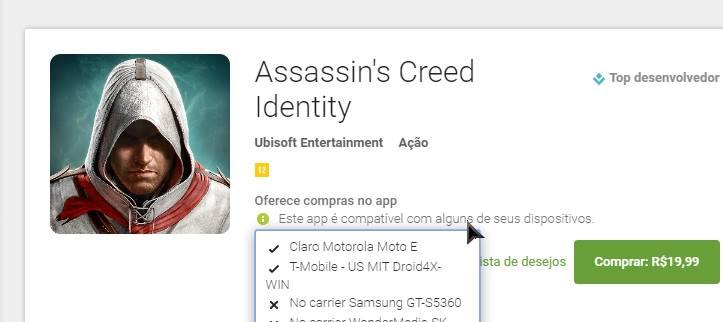 """assassins-creed-identity-android-compativel-Moto-E Assassin's Creed Identity: Jogo está como """"compatível"""" para alguns dispositivos com 1GB de RAM"""
