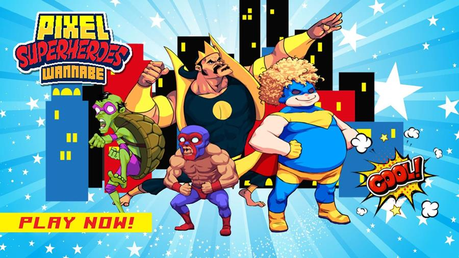pixel-superheroes-android Super PixelHeroes é um runner com Super-Heróis malucos
