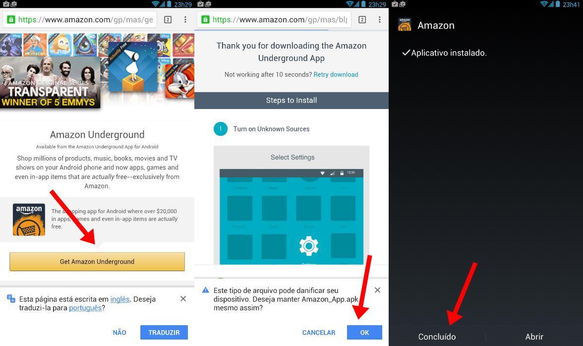 Baixe o aplicativo Amazon Underground, mas não o abra!