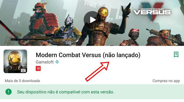 Modern Combat Versus: entenda por que o jogo aparece como incompatível