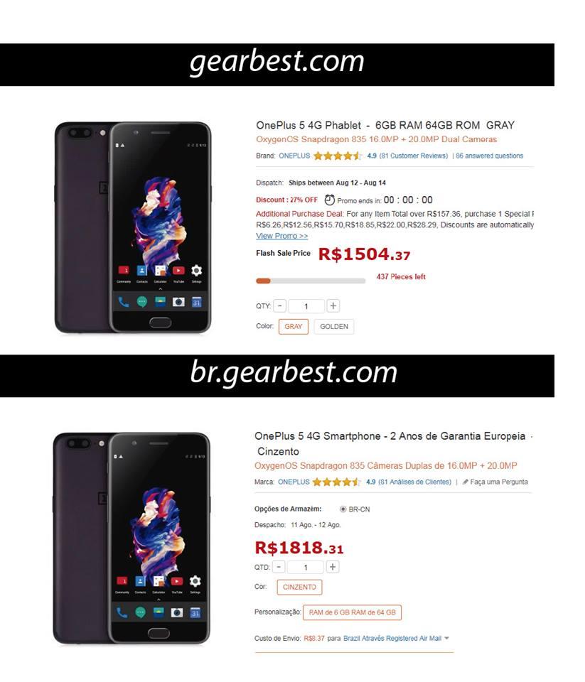 diferenca-preco-gearbest GearBest lança site focado no Brasil. Confira a promoção de celulares!