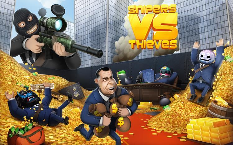 Em Snipers vs Thieves você é o ladrão que rouba um banco ou um atirador