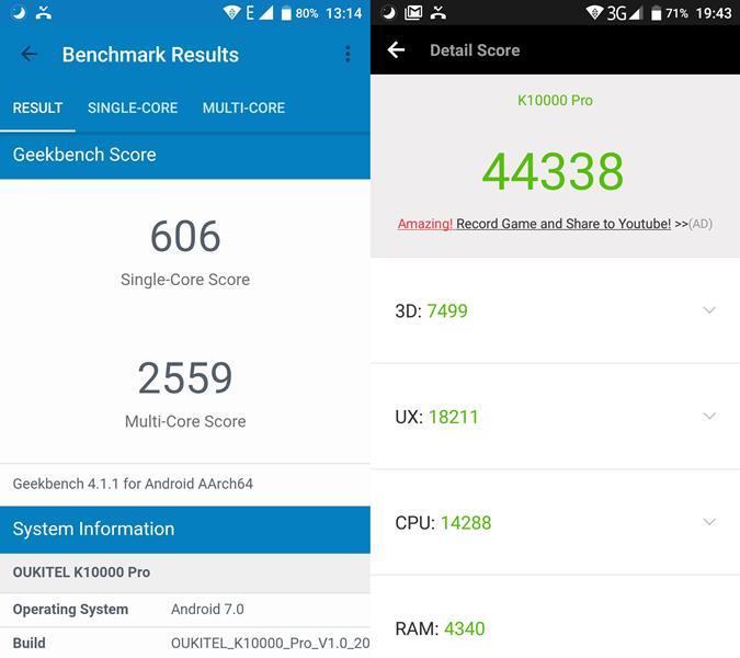 antutu-geekbench-oukitel-k10000-pro Review do Oukitel K10000 Pro, o smartphone com a melhor bateria de 2017