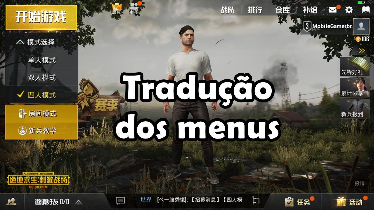 PUBG Mobile (Battlefield): Tradução dos Menus e Dicas