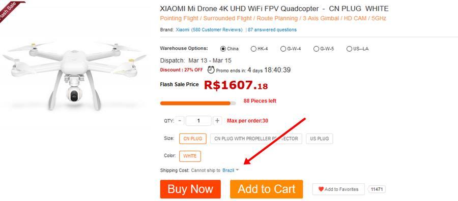 cannot-ship-to-brazil GearBest aumenta preço do frete para o Brasil? [ATUALIZADO]