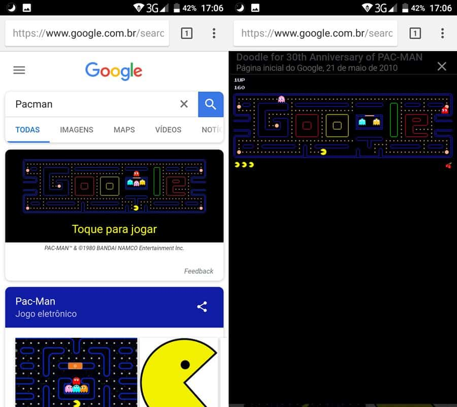 pac-man-direto-do-navegador-android Conheça 7 Jogos Escondidos no Celular Android