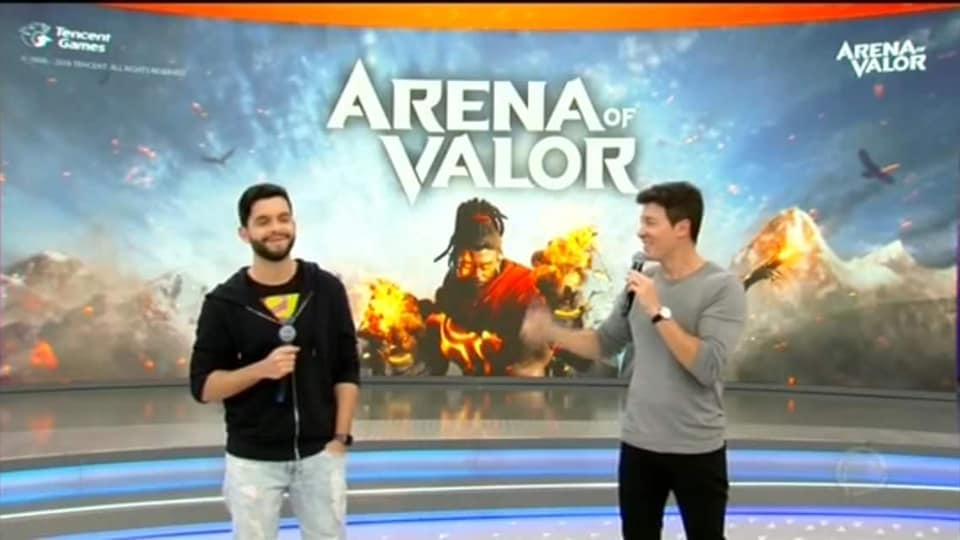 "arena-of-valor-rodrigo-faro-bruno-playhard-record Arena of Valor no programa ""Hora do Faro"" na Record"
