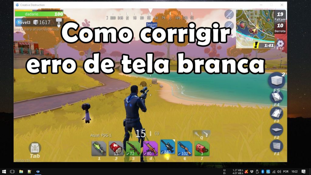 Creative Destruction no PC: como corrigir erro de tela branca (login)
