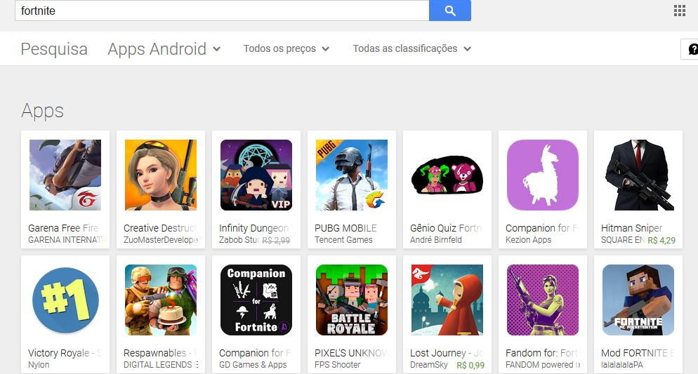 "pesquisa-fornite-google-play Creative Destruction é o grande favorecido na crise ""Fortnite vs Google Play"""