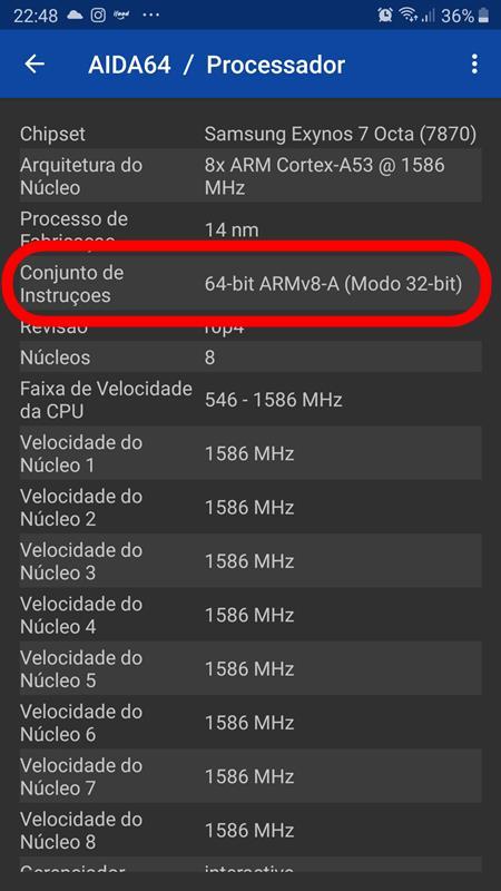 aida64-processador-galaxy-j7-pro Como saber se processador do celular é 32 bits ou 64 bits? Descubra!