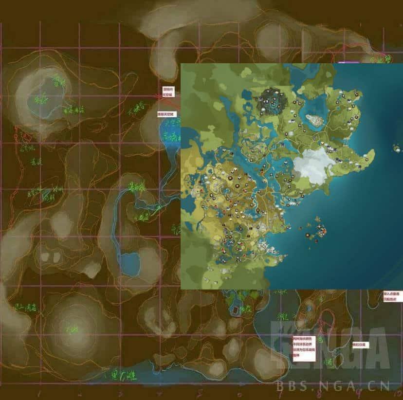 genshin-impact-sobreposicao-dois-mapas Genshin Impact: Mapa Vazado Mostra o Mundo Completo do Jogo