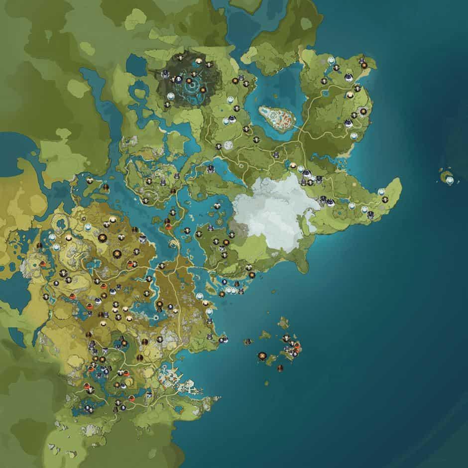 mapa-oficial-genshin-impact Genshin Impact: Mapa Vazado Mostra o Mundo Completo do Jogo